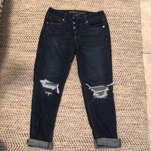 Boyfriend dark wash jeans with holes